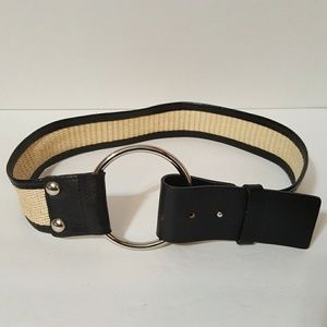 WHBM - GENUINE LEATHER TRIM WOVEN BELT